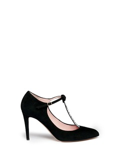 KATE SPADE 'Noland' ribbon crystal T-strap suede pumps
