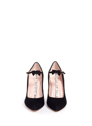 Figure View - Click To Enlarge - Kate Spade - 'Noland' ribbon crystal T-strap suede pumps