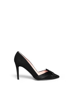 KATE SPADE 'Perry' satin bow suede pumps