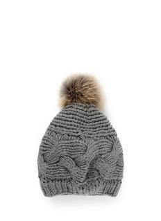 KARL DONOGHUEFox fur pompom wool knit beanie