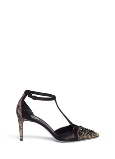 RENÉ CAOVILLA Bead lace toe cap pumps