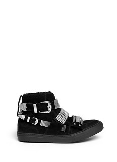 TOGA ARCHIVES Metal hardware suede shearling sneakers