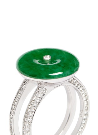 Detail View - Click To Enlarge - Samuel Kung - Jade diamond 18k white gold double brand ring