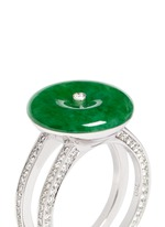 Jade diamond 18k white gold double brand ring