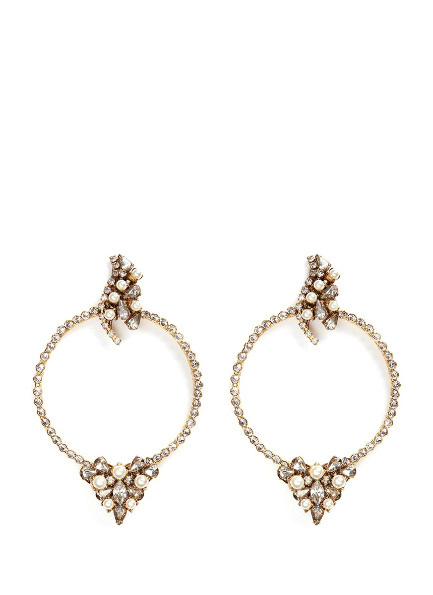 Together Forever gold vermeil Swarovski crystal hoop earrings by Erickson Beamon