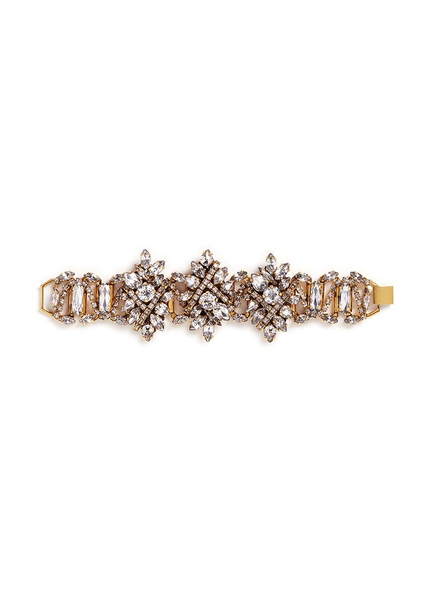 Parlor Trick 24k gold plated Swarovski crystal bracelet by Erickson Beamon