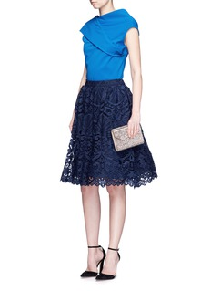 alice + olivia Joyce' guipure lace flared skirt