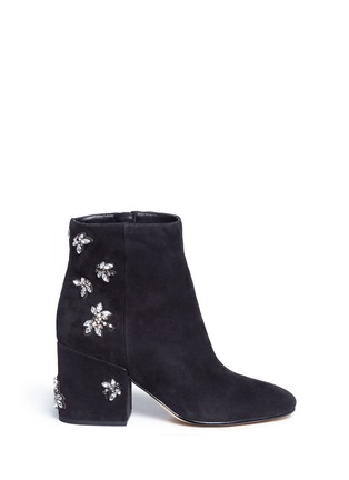 Main View - Click To Enlarge - Sam Edelman - 'Taye' jewelled insect suede ankle boots