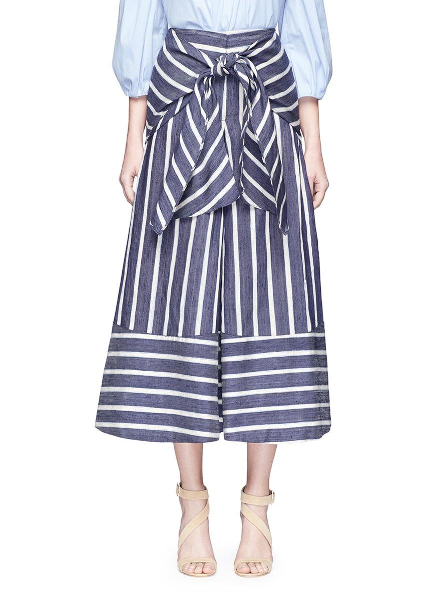 Merrymack tie waist stripe raw silk culottes by Johanna Ortiz