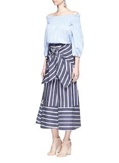 Johanna Ortiz'Merrymack' tie waist stripe raw silk culottes