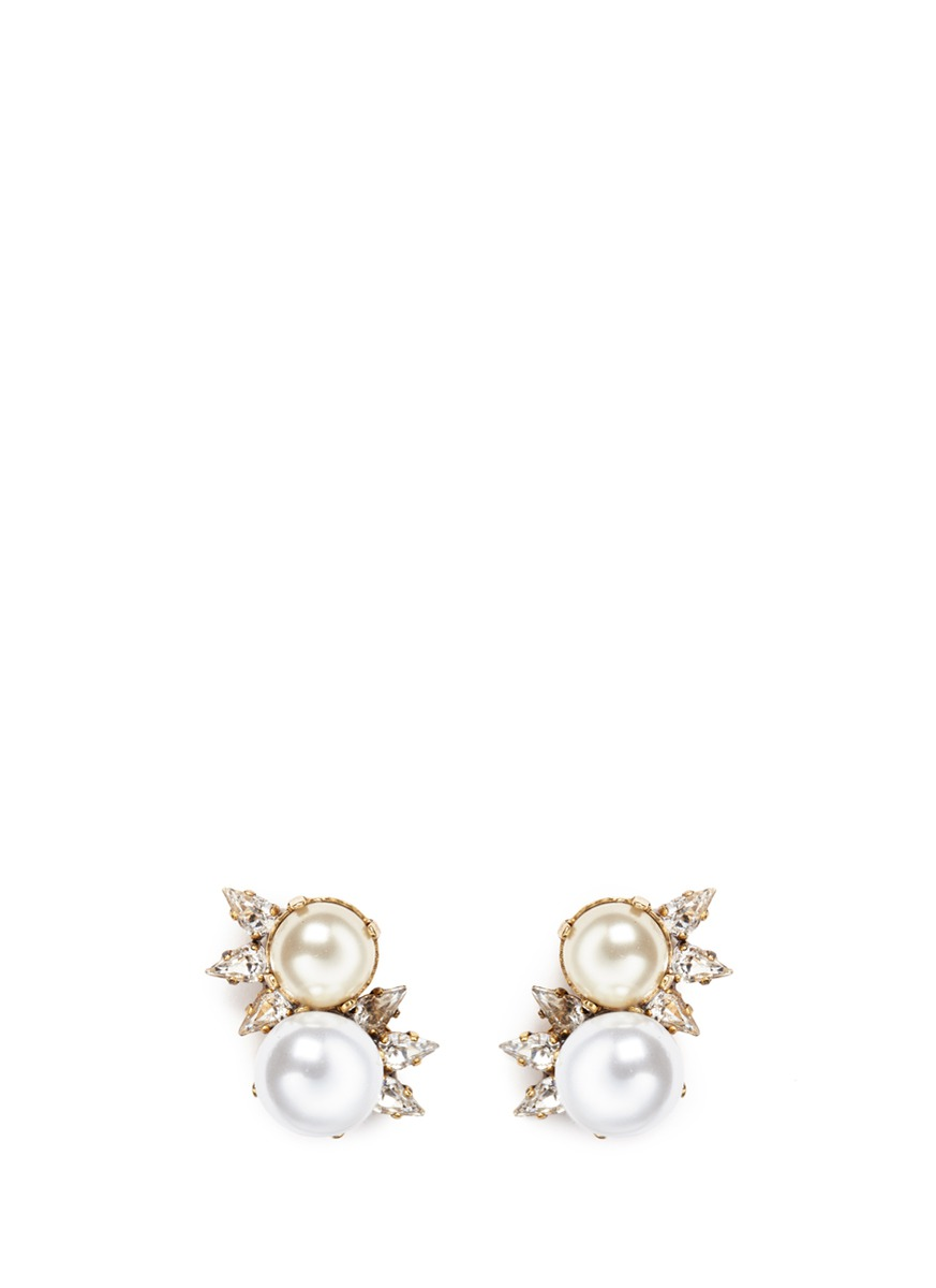 Dancing Queen 24k gold plated glass pearl stud earrings by Erickson Beamon