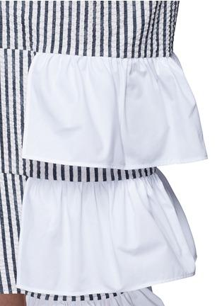 Detail View - Click To Enlarge - Dawei - Ruffle tiered hem sailor collar stripe dress