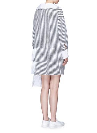 Back View - Click To Enlarge - Dawei - Ruffle tiered hem sailor collar stripe dress