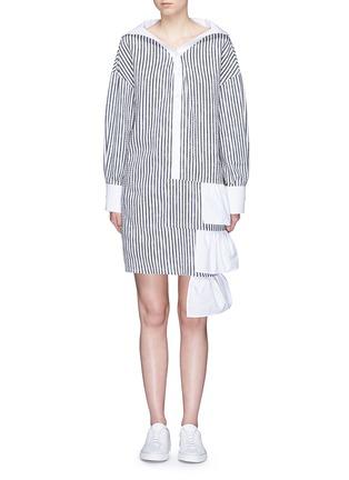 Main View - Click To Enlarge - Dawei - Ruffle tiered hem sailor collar stripe dress