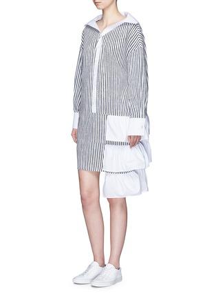 Figure View - Click To Enlarge - Dawei - Ruffle tiered hem sailor collar stripe dress