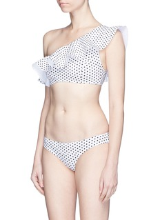 Lisa Marie Fernandez 'Arden' polka dot flounce one-shoulder bikini set