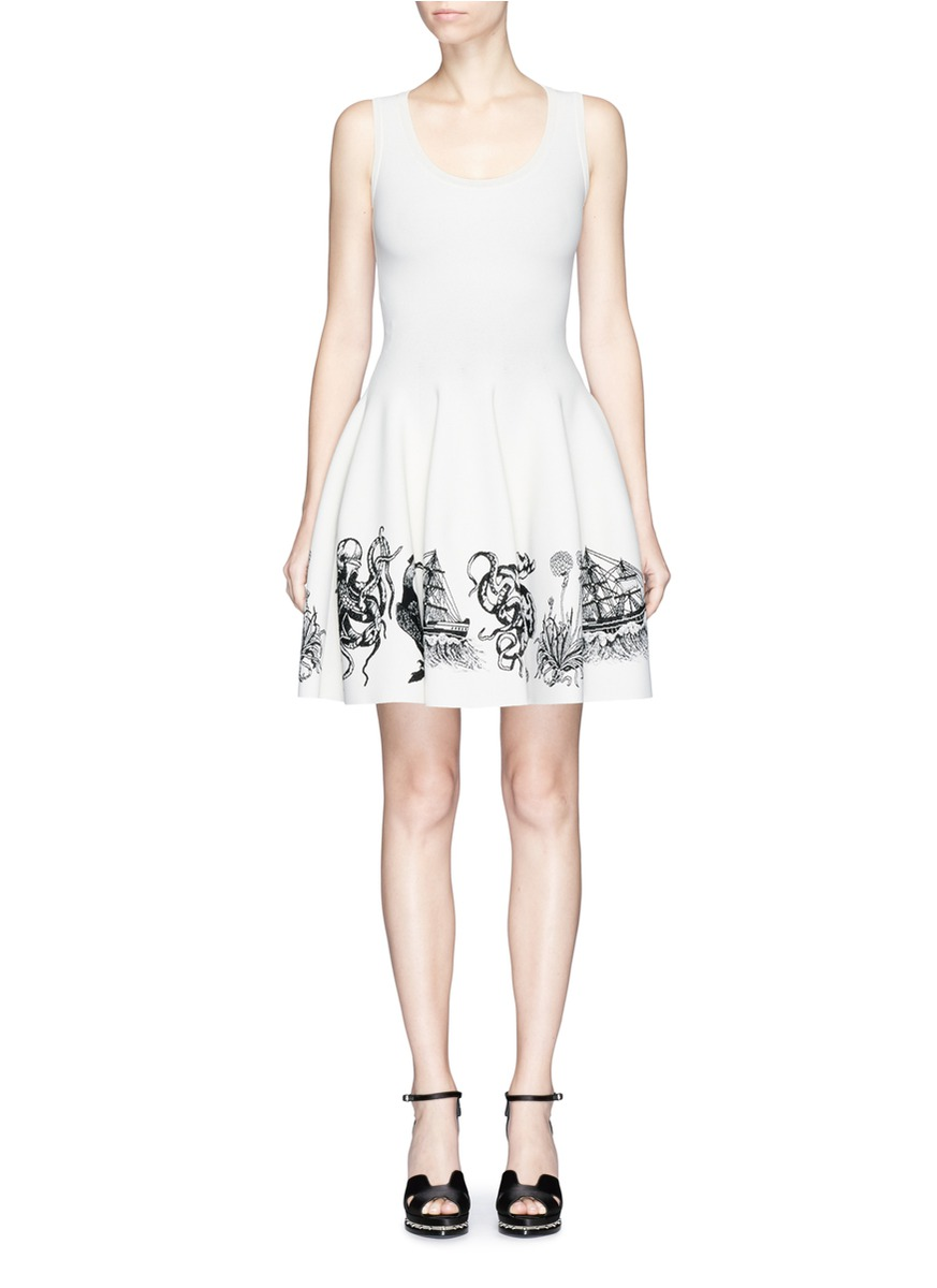 Sea creature intarsia sleeveless dress by Alexander McQueen