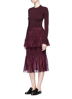 Ms MIN Tiered plissé pleat sheer silk skirt