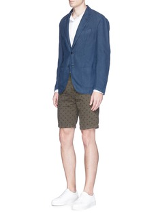 AlteaDiamond print linen-cotton Bermuda shorts
