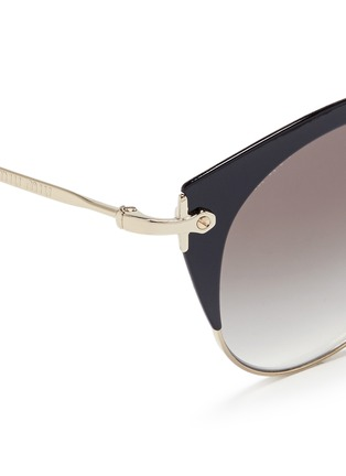 Detail View - Click To Enlarge - miu miu - 'Noir' coated brow bar cat eye gradient sunglasses