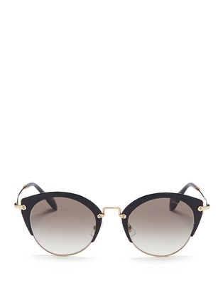 Main View - Click To Enlarge - miu miu - 'Noir' coated brow bar cat eye gradient sunglasses