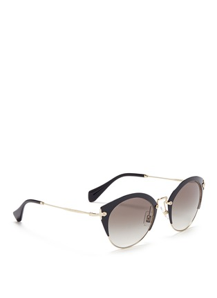 Figure View - Click To Enlarge - miu miu - 'Noir' coated brow bar cat eye gradient sunglasses