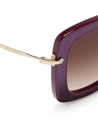 Detail View - Click To Enlarge - miu miu - 'Noir' leather inlay acetate metal sunglasses