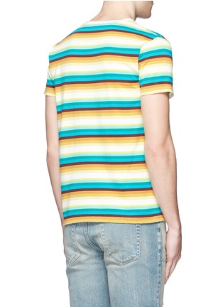 Back View - Click To Enlarge - Saint Laurent - Stripe distressed cotton jersey T-shirt