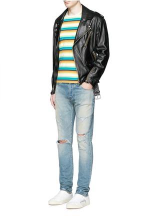 Figure View - Click To Enlarge - SAINT LAURENT - Stripe distressed cotton jersey T-shirt