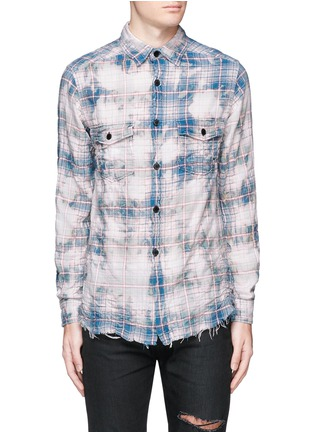 Saint laurent check distressed and bleached flannel for Saint laurent check shirt