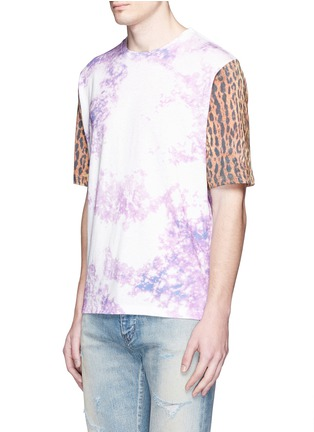 Front View - Click To Enlarge - SAINT LAURENT - Leopard print tie dye effect T-shirt