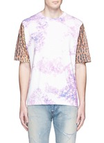Leopard print tie dye effect T-shirt