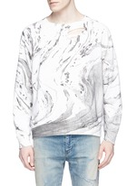 Marble effect distressed cotton sweatshirt