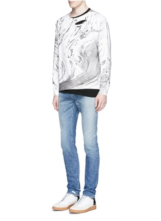 Saint Laurent - Marble effect distressed cotton sweatshirt