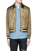 Stud leopard print Harrington jacket