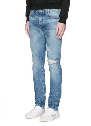 Front View - Click To Enlarge - Saint Laurent - Destroyed knee patch skinny jeans
