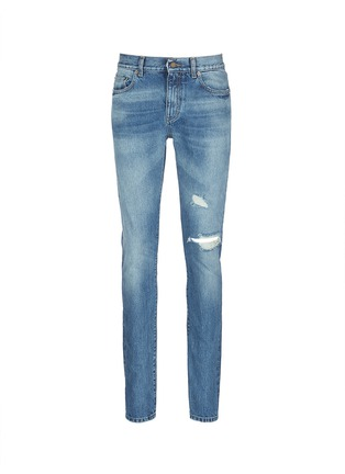 Main View - Click To Enlarge - Saint Laurent - Destroyed knee patch skinny jeans