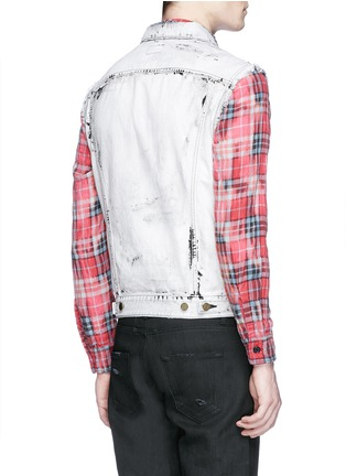 Saint Laurent-Stud yoke bleached denim vest