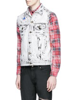 Stud yoke bleached denim vest