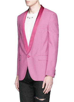 Front View - Click To Enlarge - Saint Laurent - Satin shawl lapel wool-Mohair blazer
