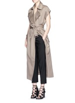 Double face cotton-linen sleeveless trench vest