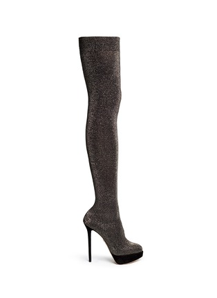 Main View - Click To Enlarge - Charlotte Olympia - 'More is More' glitter stocking thigh high boots