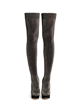 Figure View - Click To Enlarge - Charlotte Olympia - 'More is More' glitter stocking thigh high boots