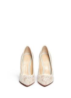 CHARLOTTE OLYMPIA'Monroe' silk satin lace pumps