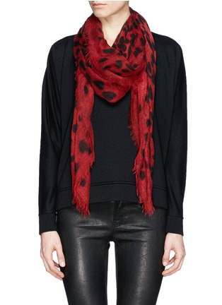 Figure View - Click To Enlarge - Alexander McQueen - Leopard big skull cashmere-silk scarf