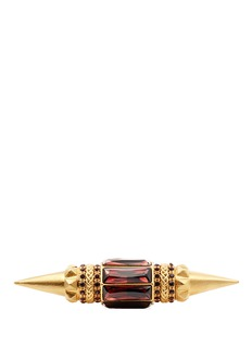 ALEXANDER MCQUEEN Strass spike brass two finger ring