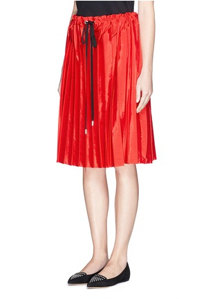 Front View - Click To Enlarge - VICTORIA, VICTORIA BECKHAM - Washed taffeta drawstring pleat skirt