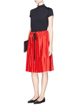 Figure View - Click To Enlarge - VICTORIA, VICTORIA BECKHAM - Washed taffeta drawstring pleat skirt
