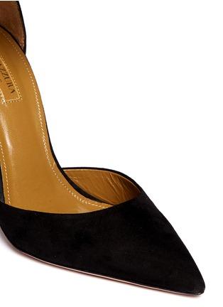 细节 - 点击放大 - AQUAZZURA - HELLO LOVER金属脚腕绊带麂皮高跟鞋