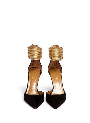 模特儿示范图 - 点击放大 - AQUAZZURA - HELLO LOVER金属脚腕绊带麂皮高跟鞋